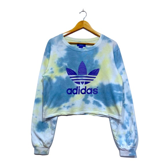 Adidas woman's Tie Dye Crop Top sweatshirt pullove