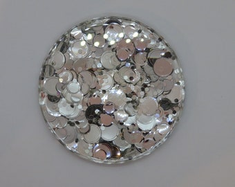 Coasters set of 4, resin with circle silver glitter.