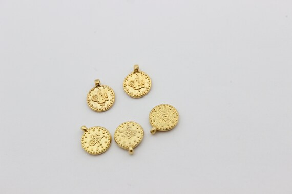 5 Pcs 10mm 24k Shiny Gold Ottoman Signature Coins, Round Flat Coins  Findings, Coin Charms, Ottoman Pendants, Gold Plated Findings