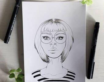 Specs - A5 Print - Ink Illustration - Wall Art