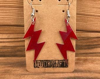 Red Lightning Bolt Vintage Vinyl Earrings