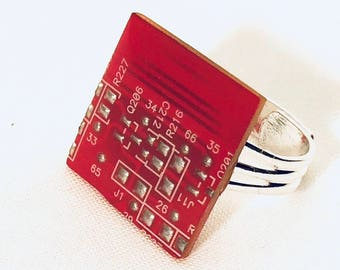 Red Circuit Board Ring