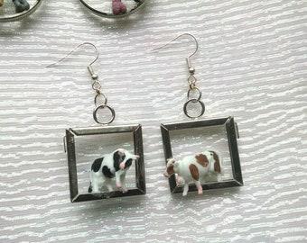 Cow couple earrings