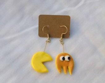 Pacman and ghost earrings-orange and yellow