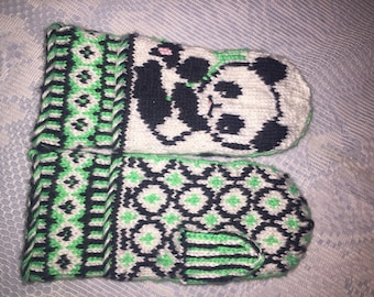 Hand knit custom made Panda Mittens