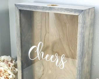 Wine Cork Holder   Cheers Wood Framed Shadow Box   Housewarming   Wedding Cork Display Case   Bridal Shower   Wedding Gift   Birthday Gift