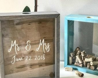 Wine Cork Holder   Wood Shadow Box Display   Memory Box   Housewarming   Bridal Shower Gift   Wedding Gift   Birthday Gift   Anniversary