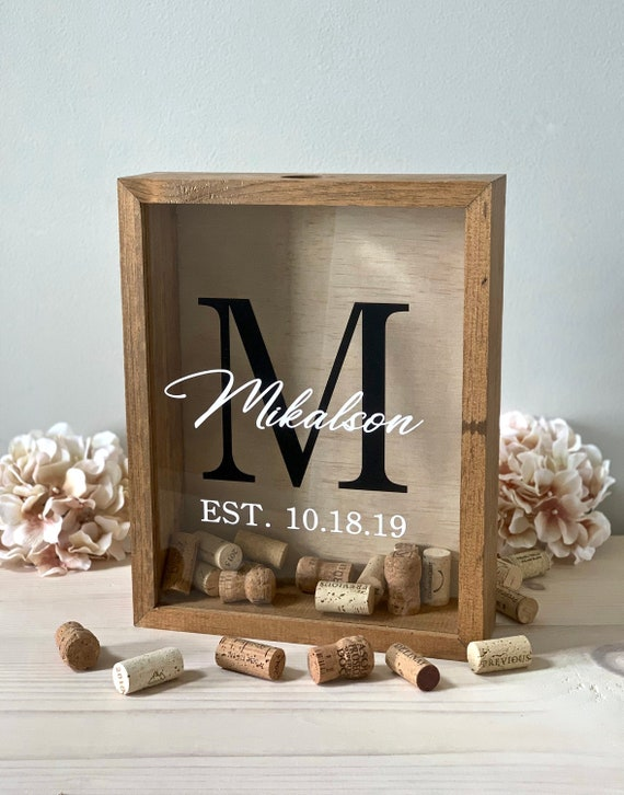Alternative Guest Book For the Couple Wedding Guest Book Bridal Shower Unique Guest Book Cork Display Shadow Box Cheers Design