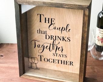 Wine Cork Holder   Wood Framed Shadow Box   Housewarming   Wedding Cork Display Case   Bridal Shower   Rustic Home Decor   Birthday Gift