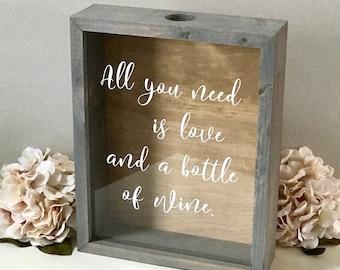 Wine Cork Holder   Wood Framed Shadow Box   Housewarming   Wedding Cork Display Case   Bridal Shower   Wedding Gift   Birthday Gift