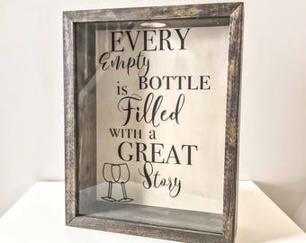 Wine Cork Holder   Wood Framed Shadow Box   Housewarming Gift   Wedding Gift   Bridal Shower Gift   Rustic Home Decor   Anniversary Gift
