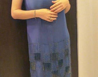 1920s Blue silk beaded dress
