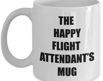 Happy Flight Attendant Mug - Coffee Cup Gift Present for Flight Attendants