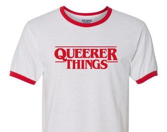 Queerer Things Ringer Tee - LGBTQIA Pride, queer, gay, stranger things parody