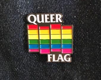 Queer Flag Enamel Pin - LGBTQIA+ Pride, punk, queer, gay rights, LGBT