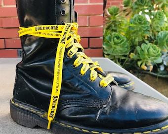 Queercore shoelaces queer punk revolution screenprinted - LGBT pride, gay, trans