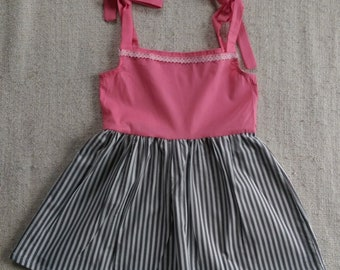 Dress with tied straps summer dress girl cotton dress