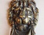 Vintage Reclaimed Brass Lions Head Door Knocker