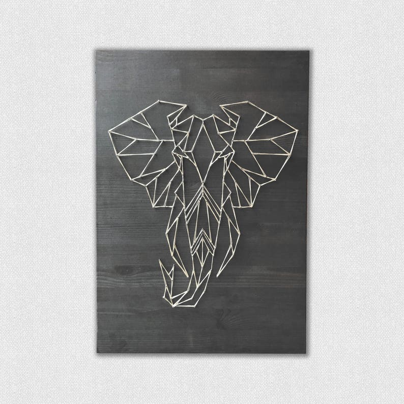 Geometryczne Slon String Sztuki Slon Sciany Obraz Sztuka Etsy