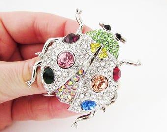 Large Silver Ladybird Brooch, Ladybug Brooch, Colourful Ladybird Brooch, Ladybug Jewelry, Insect Brooch, Insect Jewellery, Ladybird Pin