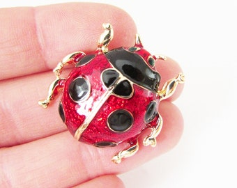 Small Ladybird Brooch, Red Ladybug Brooch, Red and Black Ladybird Brooch, Ladybug Jewelry, Insect Brooch, Insect Jewellery, Ladybird Pin