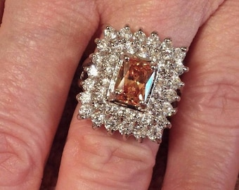 Honey Topaz & White Topaz Princess Cut Gemstone Sterling Silver Plated Ring 7
