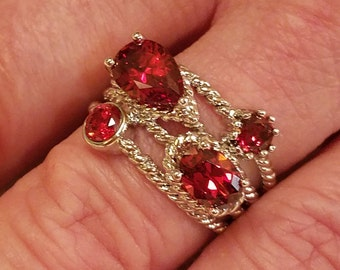Red Fire Garnet Gemstone 4 Stone Sterling Silver Filled Wide Band, 4 ct.  Size - 7