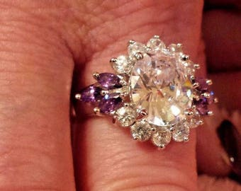 White Topaz & Amethyst Large Oval Cut Gemstone Sterling Silver Plated Ring, 7.5 ct.  Size - 9