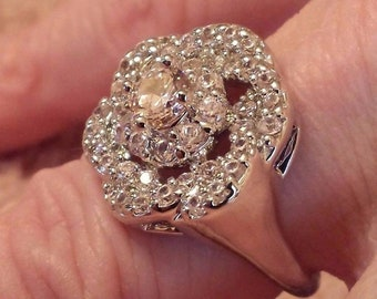 """Pink & White Topaz Gemstone """"Flower"""" Sterling Silver Plated Ring Size - 7"""