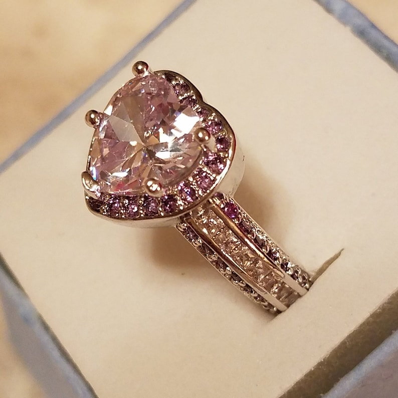 Engagement White Topaz /& Amethyst Gemstone Heart Sterling Silver Filled Ring Size 8 3.5 ct