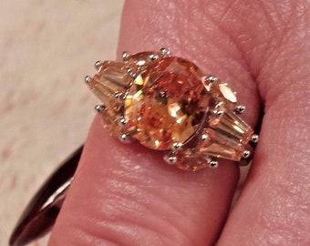 Honey Topaz Oval Cut Gemstone Sterling Silver Plated Ring, 7 ct.   Size 8