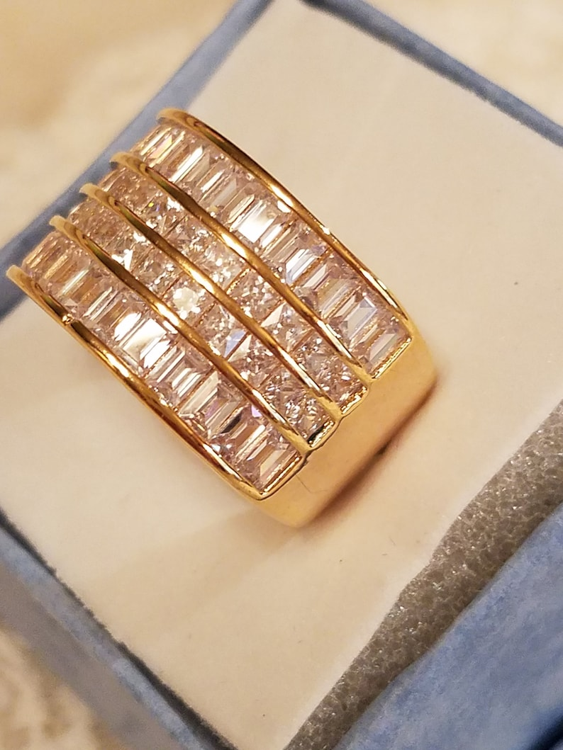 Size 7 4 ct Wedding White Topaz 4 Row Baguette /& Round Cut Gemstone 14k Gold Clad Sterling Silver Filled Wide Band