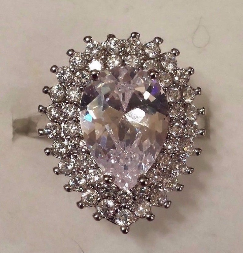 Size 9 10 ct White Topaz Pear Cut Gemstone Sterling Silver Plated  Ring