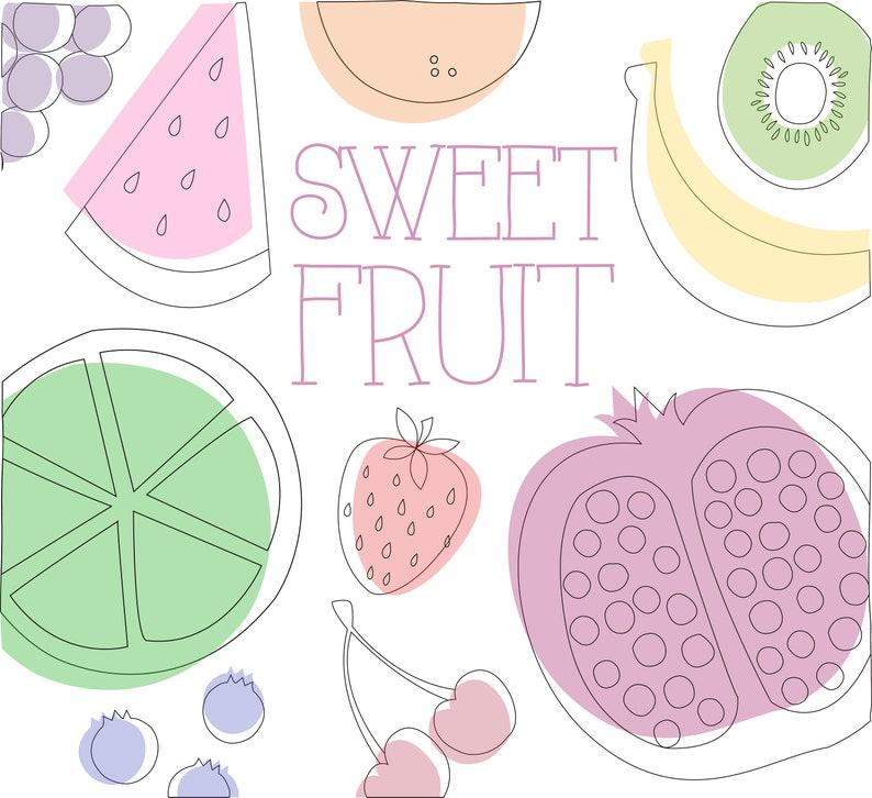 Fruit Clipart  Instant Download  Fruit Designs  Watermelon Art  Strawberry Art  Banana  Kiwi  Illustration Clipart