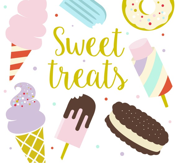 Sweet Treats Clipart / Summer Clipart / Ice Cream / Dessert | Etsy