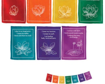 Prayer Flags Chakra Healing Affirmation Flags-Large 7 Rolls 100% Cotton Healing Lotus 7 Mantra Hand Made Nepal