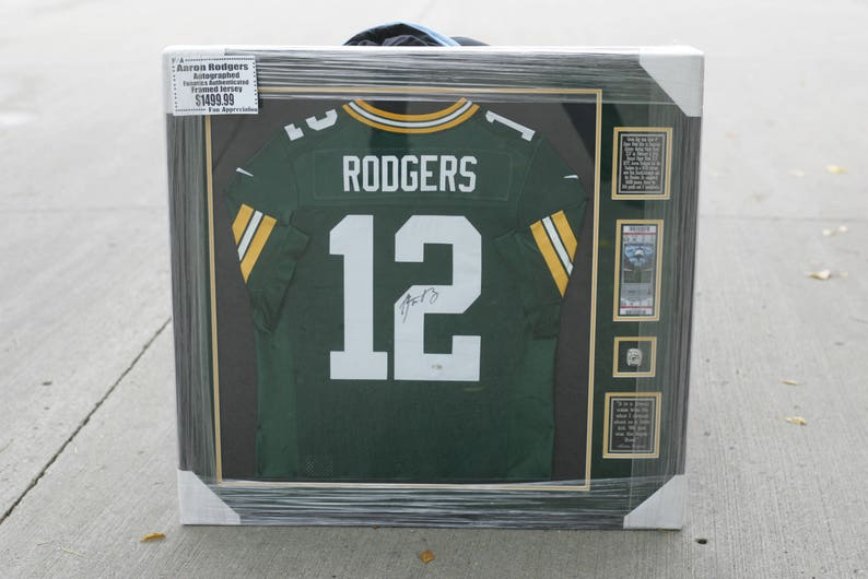 low priced 7baad 69b8d Aaron Rodgers framed authentic Green Bay Packers jersey