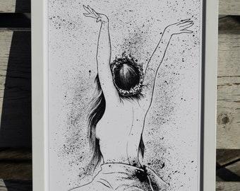 Nixie, Water Nymph, Woods, Slavic, Demons, Woman, Sunrise, Gods, Slavic Mythology, Graphic, Art Print, Digital Print, A4, 21x29,7