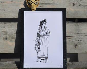Nixie, Water Nymph, Jarylo,  Slavic, Demon, Slavic Mythology, Graphic, Art Print, Digital Print, A4, 21x29,7