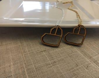 Birch Wood Heart Necklace