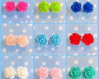 Rose Shaped Resin Stud Earrings
