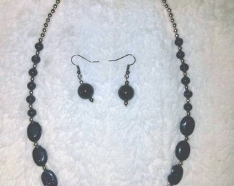 Blue goldstone necklace and earings