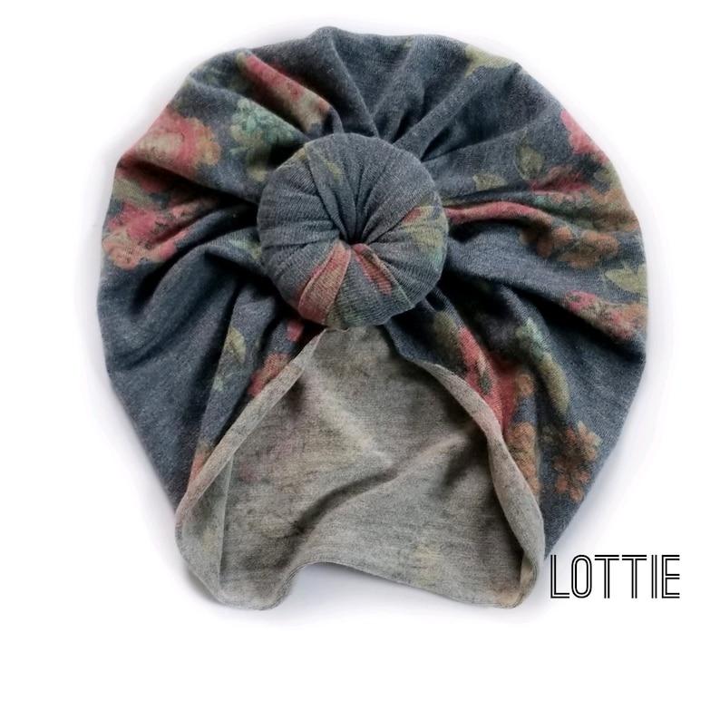 Floral vintage blue Turban or Bow wrap