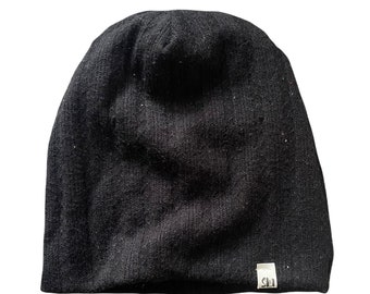 Black sweater knit beanie/winter hat