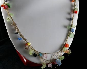 Rainbow chip net necklace