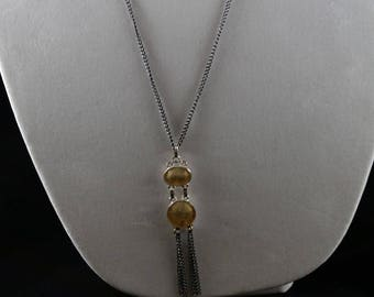 Golden shell necklace and earring set