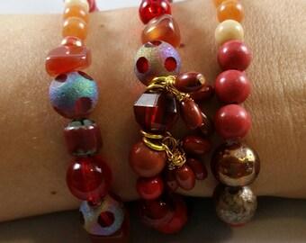 Red stack bracelets