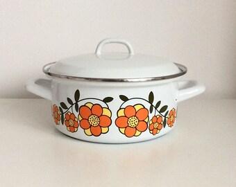 Large vintage orange floral Taunton Vale enamel casserole dish / saucepan