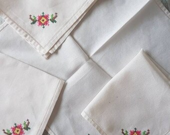 Vintage Handkerchiefs x4 reusable no waste tissue alternative