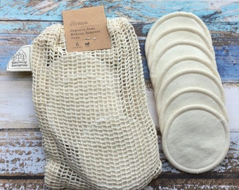 14x Organic Hemp Makeup Pads With Cotton Washbag, Eco Beauty, Gifts For Her, Zero Waste